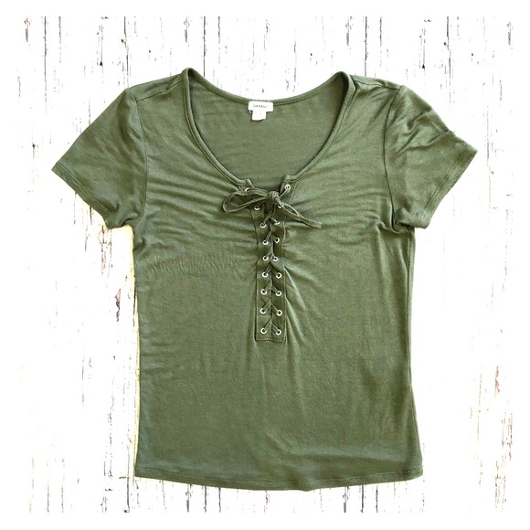 Garage Tie Up T-Shirt Khaki, Size XS